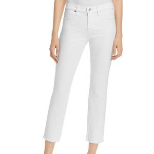 7 for all mankind Roxanne white raw hem ankle jean